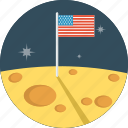 flag, moon, space, us flag, usa icon