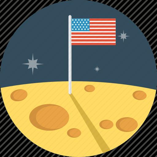 flag, moon, space, us flag, usa icon