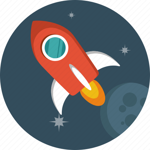 flying, moon, rocket, space, spaceship icon
