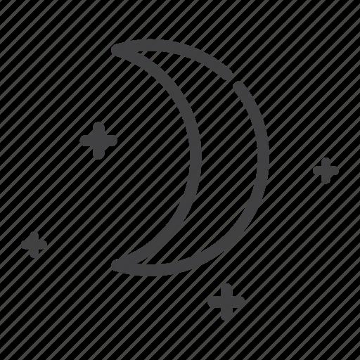 crescent, moon, night, star icon