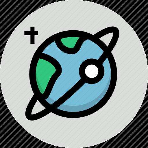 astronomy, earth, planet, satellite, space icon