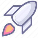 lanuching, rocket, spacecraft, spaceship, startup icon