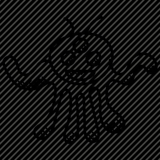 cartoon alien, character, halloween, monster alien, octopus alien icon