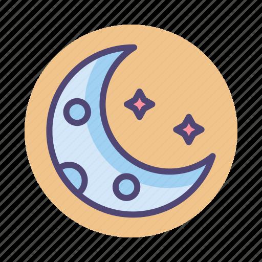moon, moonlight, new moon, planet, stars icon