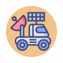 moon, moon rover, radar, rover, satellite icon
