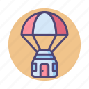 airdrop, capsule, space, space capsule, space supply icon