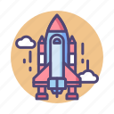 launch, rocket, rocket launch, shuttle, space, spaceship icon