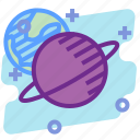education, orbit, planet, saturn, science, space icon