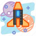 education, launch, plane, rocket, science, space icon