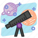 education, observe, science, space, telescope icon