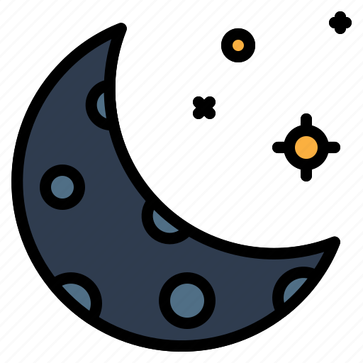 astronomical, crescent, moon, space icon