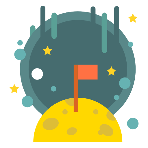 flag, galaxy, goal, lunar, moon, planet, space icon