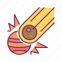 asteroid, collision, meteor, meteorite, planet icon