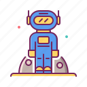 armor, astronaut, full, moon landing, spacesuit icon