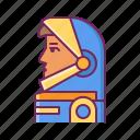 astronaut, face, helmet, human, profile, spacesuit