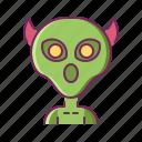 alien, creature, evil, horn, monster icon