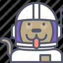 astronaut, dog, interstellar, space, travel icon