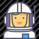 astronaut, female, interstellar, space, travel icon