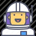 astronaut, interstellar, male, space, travel icon