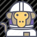 astronaut, interstellar, monkey, space, travel icon