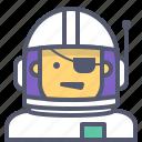 astronaut, interstellar, pirate, space, travel icon