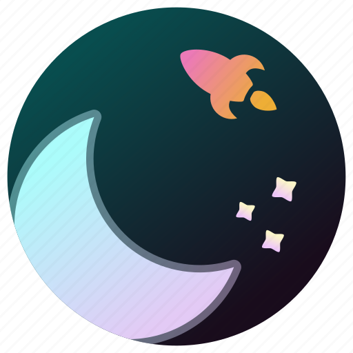 astronomy, moon, rocket, space, stars, universe icon
