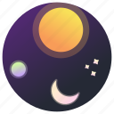 astronomy, moon, planet, space, stars, sun, universe icon