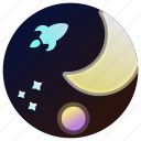astronomy, moon, planet, rocket, space, stars, universe icon