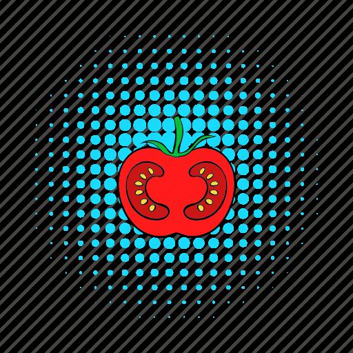 comics, food, ingredient, red, ripe, tomato, vegetable icon