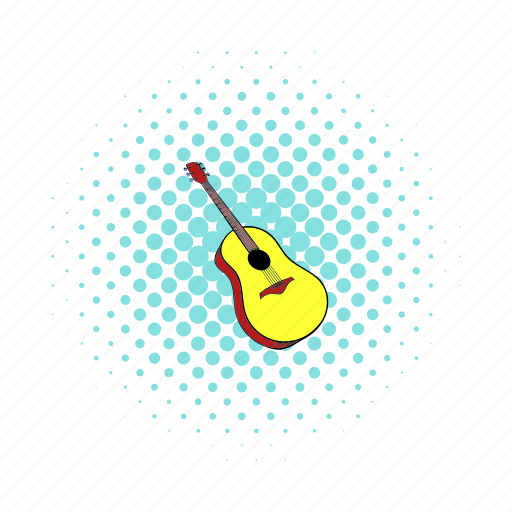 acoustic, classical, comics, guitar, instrument, musical, string icon