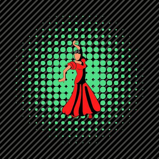 beautiful, comics, dancer, dress, red, spain, spanish icon