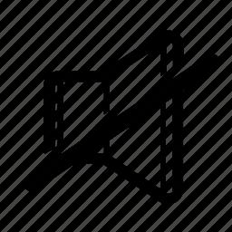 mute, quiet, silence, silent, sound, speaker, volume icon