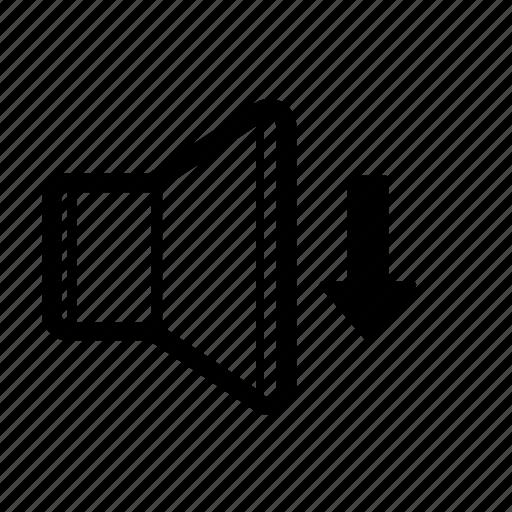 decrease, down, music, quiet, sound, speaker, volume icon
