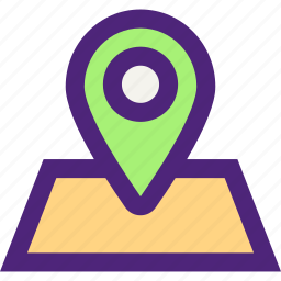 activity, camping, hiking, map, on, outdoor, place, wild icon