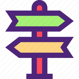 activity, camping, hiking, outdoor, road, signs, wild icon