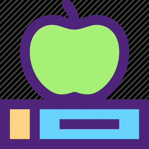 apple, book, culture, education, learn, school, study icon