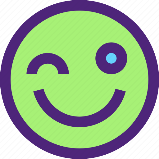 chat, cute, emoji, emoticons, expression, face, wink icon