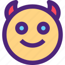 chat, devil, emoji, emoticons, expression, face icon