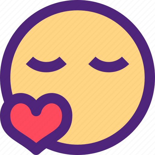 chat, emoji, emoticons, expression, face, kiss, love icon