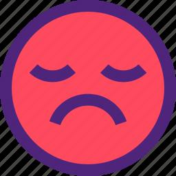 chat, emoji, emoticons, expression, face, sad icon