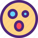 chat, emoji, emoticons, expression, face, shocked icon
