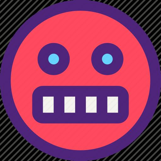 chat, emoji, emoticons, expression, face, grumpy, shocked icon