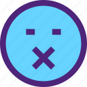 chat, emoji, emoticons, expression, face, silent icon