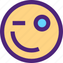 chat, emoji, emoticons, expression, face, wink icon