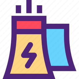 ecology, efficiency, electricity, energy, force, nuclear, plant icon