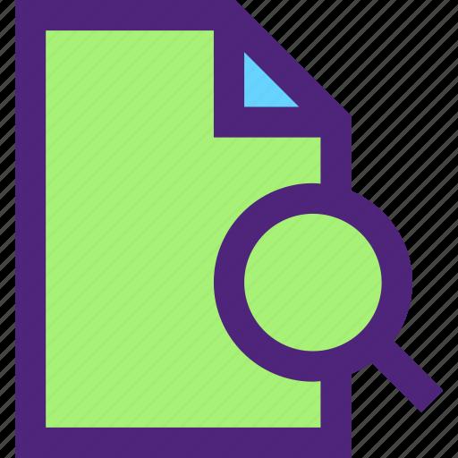 archive, computer, digital, document, file, files, search icon