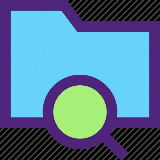 archive, computer, digital, document, files, folder, search icon
