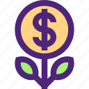 business, commerce, economics, finance, growth, money, plant icon