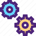 business, commerce, gears, industry, manufactory, production icon