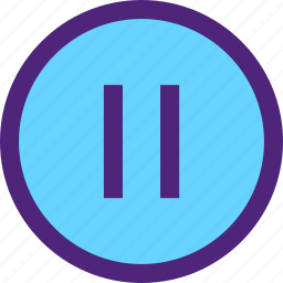 button, melody, music, pause, song, sound, tune icon
